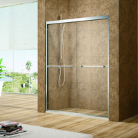 "Active Home Centre 59"" Tempered Glass Sliding Shower Door"