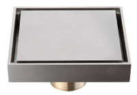 Active Home Centre Square Brass Shower Drain in Nickel