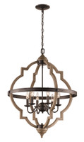 Active Home Centre 6 Light Wood Barrel Chandelier in Dark Bronze