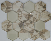 "Active Home Centre 17AS02A 12""x 12"" Hexagonal Glass Mosaic in Cream"