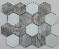 "Active Home Centre 17AS04A 12""x 12"" Hexagonal Glass Mosaic in Gris"
