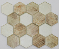 "Active Home Centre 17AS05A 12""x 12"" Hexagonal Glass Mosaic in Beige"