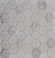 "Active Home Centre 17AS50 12""x 12"" Hexagonal Glass and Stone Mosaic"