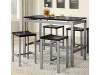 Coaster Atlas 5 Piece Counter Height Dining Table Set in Silver and Black