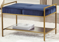 "New Arrival - Coaster 28"" Bench in Gold and Blue"