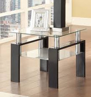 Coaster End Table in Black and Glass