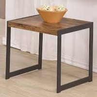 Coaster End Table in Antique Nutmeg and Gunmetal