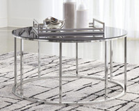 Ashley Clenco Cocktail Table in Black and Chrome
