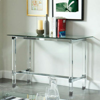 New Arrival - Furniture of America Tuva Sofa Table in Tempered Glass and Chrome