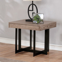 Furniture of America Sawyer End Table in Grey and Black