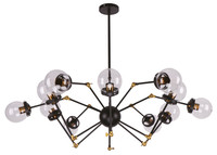 Active Home Centre 12 Light Chandelier in Black and Gold