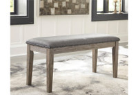 New Arrival - Ashley Aldwin Upholstered Bench in Gray