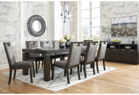 Ashley Hyndell Rectangular Extension Dining Table in Dark Brown