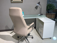 "New Arrival - Active Home Centre 47"" Tempered Glass Home Office Desk in Glossy White"