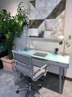 Active Home Centre Computer Table with Frosted Glass in Gray