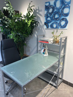 "New Arrival - Active Home Centre 49"" Computer Table with Frosted Glass and Silver"
