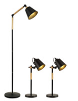 Active Home Centre Set of 3 Table Lamps in Black (27IL-9236KIT)