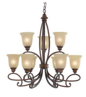 Active Home Centre 9 Light Hanging Chandelier in Bronze (30IL-8507BR-63)