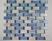 Active Home Centre G655173 Glass Mosaic in Blue, White and Silver (11FJI-G655173)