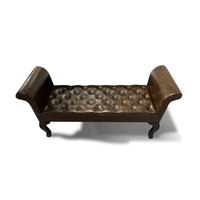 Active Home Centre Wood/Leather Bench (25UM-56602)