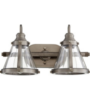 New Arrival - Quorum Signature 2 Light Vanity Wall Sconce in Antique Silver (30QU-587-2-92)