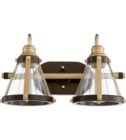 New Arrival - Quorum Signature 2 Light Vanity Wall Sconce in Aged Brass and Oiled Bronze (30QU-587-2-8086)