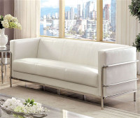 New Arrival - Furniture of America Leifur Sofa in White and Chrome (25FA-CM6791WH-SF)