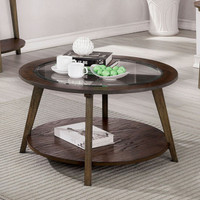 New Arrival - Furniture of America Uriel Round Coffee Table in Oak