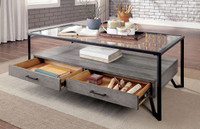 New Arrival - Furniture of America Ponderay Coffee Table in Gray and Black