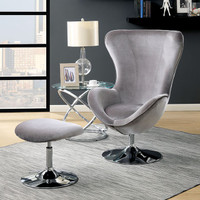 New Arrival - Furniture of America Shelia Accent Chair with Ottoman in Gray