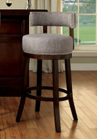 "New Arrival - Furniture of America Lynsey 25"" Swivel Bar Stool in Dark Oak"