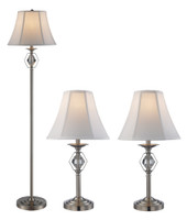 New Arrival - Active Home Centre Set of 3 Table Lamps in Brushed Nickel (27TG-RTL-9071-BN)