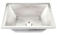 Handcrafted Hammered Nickel Rectangular Drop-In or Undermount Bathroom Sink 08THO-BPU-1914BRN