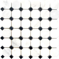"Greecian White Octagon and Glossy Black Dot Mosaic Tile 12"" x 12"""