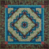 "Bright Star Flower Quilt Pattern using Hoffman California Batiks & 6"" Quick Curves Template"