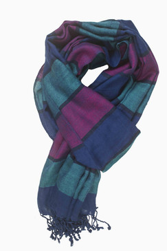 In-Sattva Colors - Horizontal Striped Multi Color Scarf Stole - Deep Blue