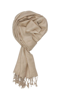 In-Sattva Colors - Woven Square Printed Solid Colored Scarf Stole - Beige