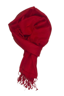 In-Sattva Colors - Woven Square Printed Solid Colored Scarf Stole - Red