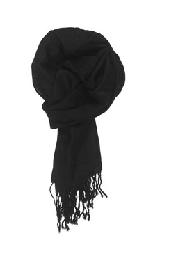 In-Sattva Colors - Woven Square Printed Solid Colored Scarf Stole - Black