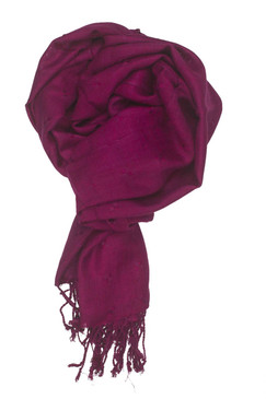 In-Sattva Colors - Woven Square Printed Solid Colored Scarf Stole -Raspberry