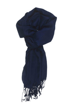 In-Sattva Colors - Woven Square Printed Solid Colored Scarf Stole - Deep Blue