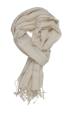 In-Sattva Colors - Elegant Solid Color Scarf Stole - Ecru