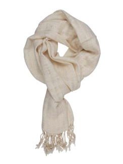 In-Sattva Colors - Decorative Vertical Stripe Embellished Scarf Stole - Ecru