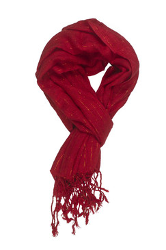 In-Sattva Colors - Decorative Vertical Stripe Embellished Scarf Stole - Red
