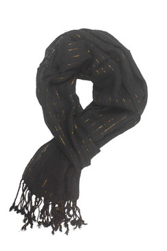In-Sattva Colors - Decorative Vertical Stripe Embellished Scarf Stole - Black