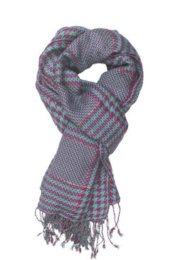 In-Sattva Colors - Checkered Houndstooth Scarf Stole - Aqua