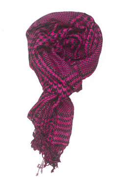 In-Sattva Colors - Checkered Houndstooth Scarf Stole - Fuschia