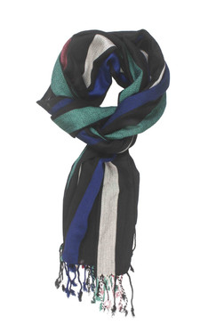 In-Sattva Colors - Vertical Stripe Multi Color Scarf Stole - Black