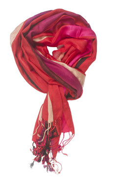 In-Sattva Colors - Vertical Stripe Multi Color Scarf Stole - Red