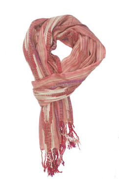 In-Sattva Colors - Woven Patterned Multi Color Vertical Stripes Scarf Stole - Beige